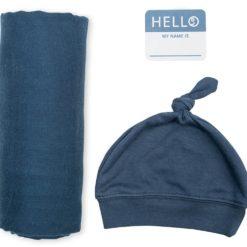 Set - Mütze & Swaddle - blau Pucktuch, Spucktuch, Deckchen