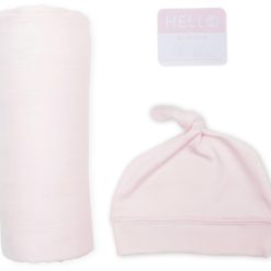 Set - Mütze & Swaddle - rosa, Spucktuch, Deckchen