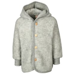 Schurwolle Fleece Kapuzenjacke mit Holzknöpfen - Bio & Made in Germany, ENGEL Natur