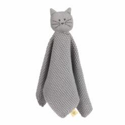 LÄSSIG Schnuffeltuch Katze gestrickt grau
