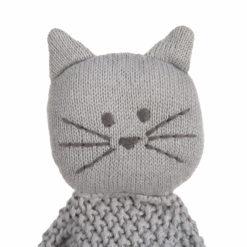 LÄSSIG Schnuffeltuch Katze gestrickt grau_Detail