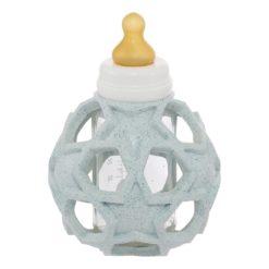 Hevea Babyflasche Glas mit Star Ball aus Kautschuk blau
