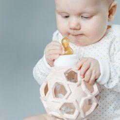 Hevea Babyflasche Glas mit Star Ball aus Kautschuk rose