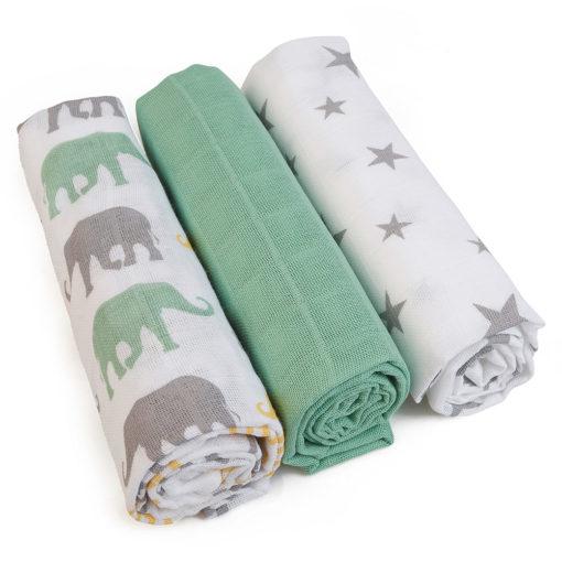 Grünspecht Mullwindeln & Waschtücher salbei grün