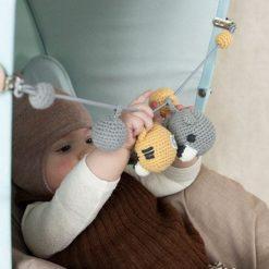 FRANCK & FISCHER Kinderwagenkette Strick Bio Baumwolle Grau